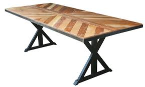 Industrial Style Dining Room Tables Sensational Chevron Wooden Top Industrial Dining Table With Double