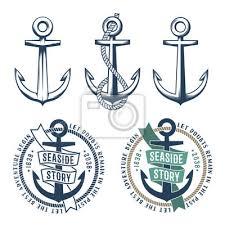 Fototapeta Sada 3 Retro Kotvy S Lano A 2 Vintage Námořní Tetování Na Bílém