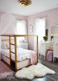 A shabby chic glam girls bedroom design idea in blush pink, white ...