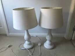 set of 2 white table lamps 70cm high