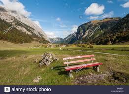 Alpine Park Austria Tyrol Alpine Park Karwendel Wooden Bench With The