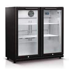 190l double glass door bar fridge in black hus c2 840 blk