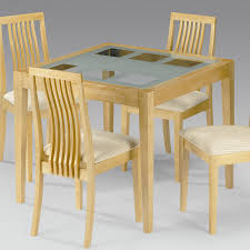 attractive forsted glass dining table with unfinished wooden frame and square tapered leg as well as