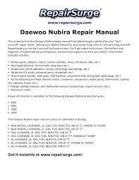 daewoo nubira repair manual 1999 2002