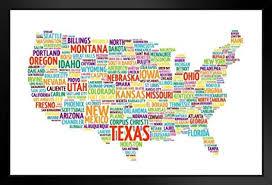 Amazon Com United States Usa Map States City Names Word