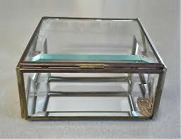 vintage large square beveled glass brass trinket box 5 square mirrored 16 00