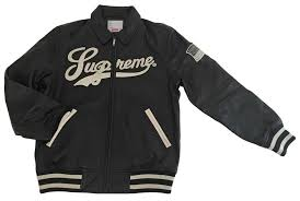 new supreme 16ss uptown studded leather varsity jacket leather jacket black m size brand new