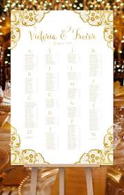 Wedding Seating Chart Poster Victoria Lace Gold Print Ready Digital File