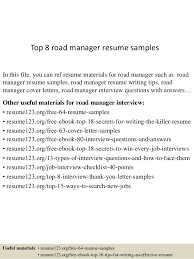 Top 8 road manager resume samples In this file, you can ref resume  materials for ...