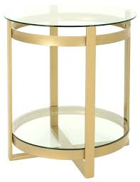 tempered glass coffee table modern round brass finish contemporary tables by nz