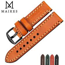 maikes watch accessories watch band for panerai fossil genuine leather strap brown 20 22 24 26mm watchband bracelet band color black b band width 20mm