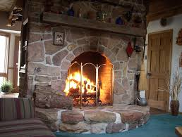 Large Stone Fireplace - Home Design