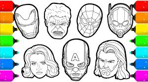 Also, you could use the search box to find what you want. Avengers Members Superheroes Faces Drawing And Coloring Youtube