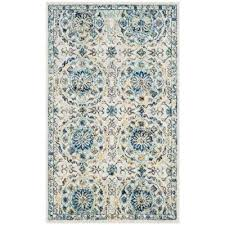 evoke ivory blue 2 ft x 4 ft area rug