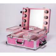 china aluminum rolling makeup case with lightirror inside