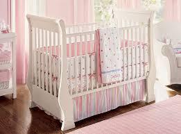 image of white pink baby crib bedding
