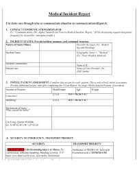 Medical Incident Report Form Template First Aid Example Word