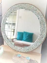 sea glass mirror home depot large round isle of wight beach decor natural sea glass wall mirror