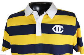details about new vtg 90s champion rugby shirt large blue yellow striped polo deadstock nwt