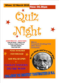 trivia night flyer templates quiz night fremantle toastmasters vq public speaking club
