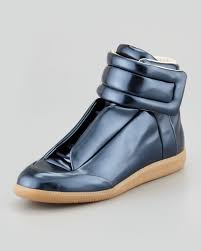 Maison Martin Margiela Gold Future Leather High Top Sneakers