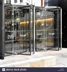 office entrance doors. Revolving Entrance Doors To New Google Office Block In King Cross London England UK With The Word On Each Door