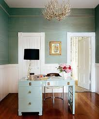 office interior wall colors gorgeous. Chic Seafoam Green Office Design With Grasscloth Wallpaper, White Beadboard, Glossy Blue Lacquer Desk, Silver Branch Table Lamp Black Interior Wall Colors Gorgeous E