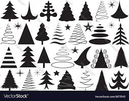 christmas tree vector black and white. set of different christmas trees vector image tree black and white c