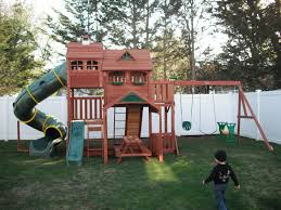 Backyards  Mesmerizing Skyfort Ii Cedar Swing Set Play 2 Backyard Big Backyard Ashberry Wood Swing Set