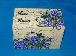 Decorative Recipe Box Hand Painted Recipe Box Hydrangeas Wood Recipe Box Purple 76