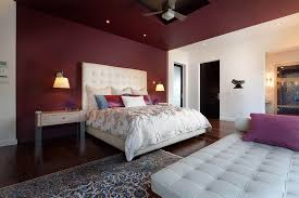 ... Exquisite bedroom in berry red [Design: Phil Kean Design Group]