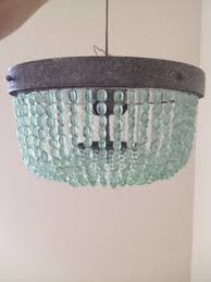 aqua light turquoise green vintage style beaded chandelier
