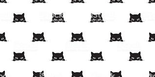 黒猫のシームレスなパターンの背景の壁紙 いたずら書きのベクター