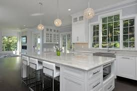 contemporary kitchen with sugar beige marble countertops