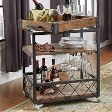 HomeSullivan Grove Place Distressed Cocoa Bar Cart with Wine Glass Storage