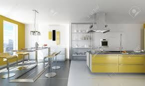 White And Yellow Kitchen Modern White And Yellow Kitchen With Isle And Table Stock Photo