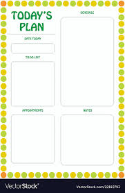 Daily Activities Template Daily Planner Template Ready For Print With Space