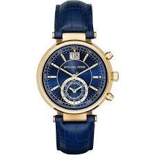 michael kors michael kors las sawyer chronograph blue leather watch