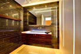 Bathroom Black Subway Ceramic Wall Tile In Modern Small Bathroom With Hung  Vanity With White Countertop