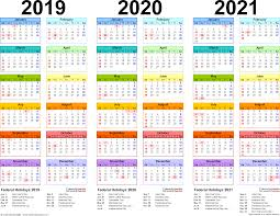 3 Year Calendar 2019 2020 2021 Calendar 4 Three Year Printable Pdf Calendars