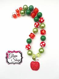 Back To School Necklace Adult Size Apple Chunky