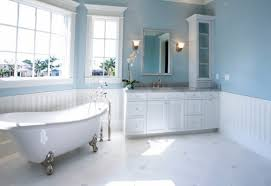 Blue Bathroom Accessories Wall And White Mosaic Ceramic Floor Light Brown Varnished Wooden Chair Toilet  O