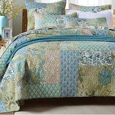 fl patchwork quilted bedspreads set queen king size bed coverlet throw rug