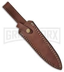 tallen commando wood fixed blade knife w leather sheath satin plain