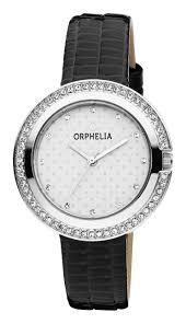 orphelia women ogue watch glitz black leather