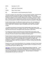 Infants Acetaminophen Concentration Change Chart Illinois Poison Center Letter On Reformulation Of Infant