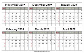 Blank Dec 2020 Calendar Monthly November 2019 To April 2020 Calendar High