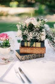 vine books garden wedding centerpiece