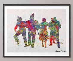original watercolor wizard of oz canvas painting pop wall art poster prints pictures kids room home on wizard of oz wall art with original watercolor wizard of oz canvas painting pop wall art poster