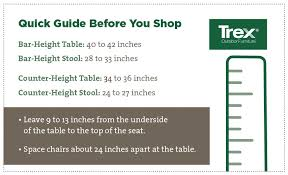 Space Marine Height Chart Get The Height Right For Outdoor Stools Trex Outdoor